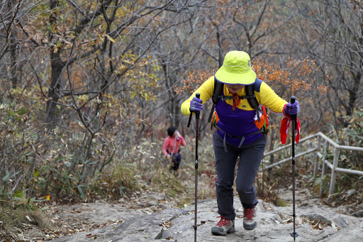 Korean hiking groups always have their gear looking fresh.