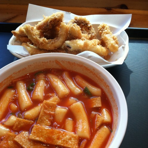 tteokbokki is another popular snack. this too is from Mimine. it's more soupy than typical tteokboki. also pictured is some fried squid. very nommy.