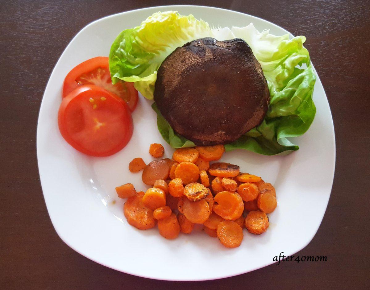 Portabella Mushroom Burgers and Roasted Carrots