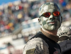 Grant Durham, the Army Cadet Spirit Band conductor, watches the Army-Navy game in Philadelphia.  (Rob Curtis/staff)