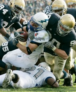 Chad Hall is seen during a game at Notre Dame his senior season at Air Force in 2007. (AP Photo/Michael Conroy)