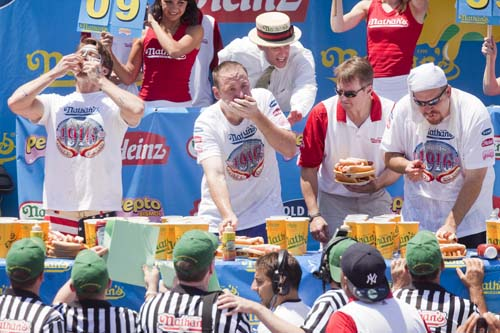 Nathan's Famous Fourth of July International Hot Dog Eating Contest at the original Nathan's Famous in Coney Island on July 4, in Brooklyn. Chestnut ate 54 hot dogs. (Getty Images)