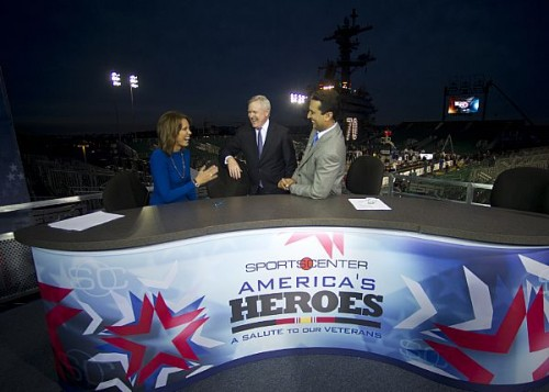Navy Secretary Ray Mabus stops by the SportsCenter desk, visiting anchors Hannah Storm and Kevin Negandhi  aboard the aircraft carrier Carl Vinson in 2011 as part of that year's Carrier Classic. Storm and Negandhi are in Annapolis on Friday for a daylong ESPN takeover.