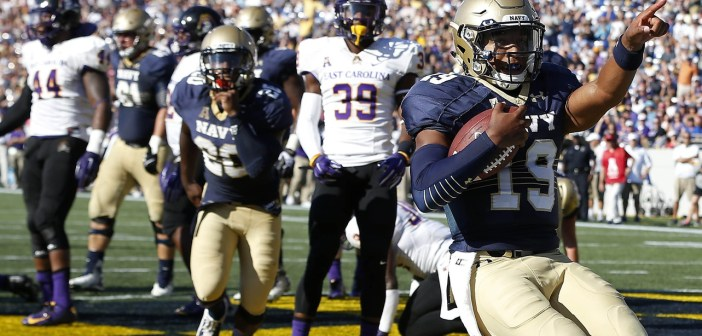 Navy's Keenan Reynolds scores one of his five rushing touchdowns against East Carolina on Saturday in Annapolis, Maryland. (USA Today Sports photo by Geoff Burke)