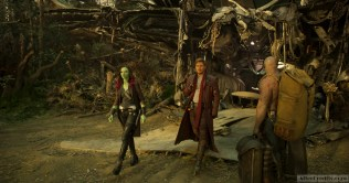 Guardians Of The Galaxy Vol. 2 L to R: Gamora (Zoe Saldana), Star-Lord/Peter Quill (Chris Pratt) and Drax (Dave Bautista) Ph: Film Frame ©Marvel Studios 2017