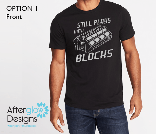 """Still Plays with Blocks"" on Black Basic Tee"