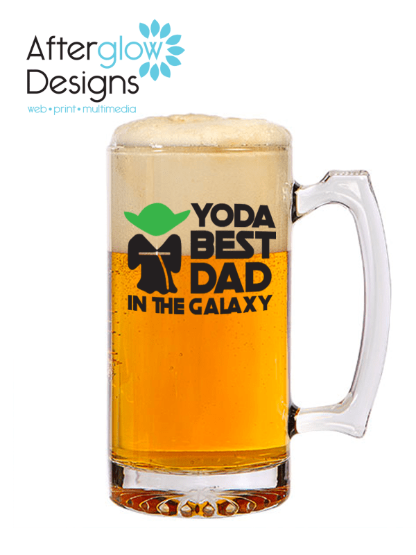"""Yoda Best Dad in the Galaxy"" on Beer Mug"