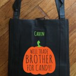 """Trick or Treat Bag - """"Will Trade Brother for Treats"""""""