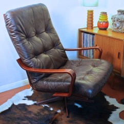 Recliner Chair Leather Florida Beach Chairs Danish / Scandinavian And Rosewood Swivel Lounge Chair, Circa 1960's | Afterglow Retro