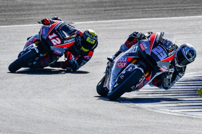 The IntactGP team seen racing on the track.