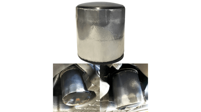This image shows the DEI Oil Filter Heat Shield. There are three photos in this image, forming a pyramid. The top photo shows the heat shield wrapped around the oil filter in the shape of a cylinder. The bottom left image shows the heat shield installed on the oil filter and the filter is attached to the vehicle. The lower right image shows another vantage point of the same filter. The oil filter heat shield is a metallic silver color.