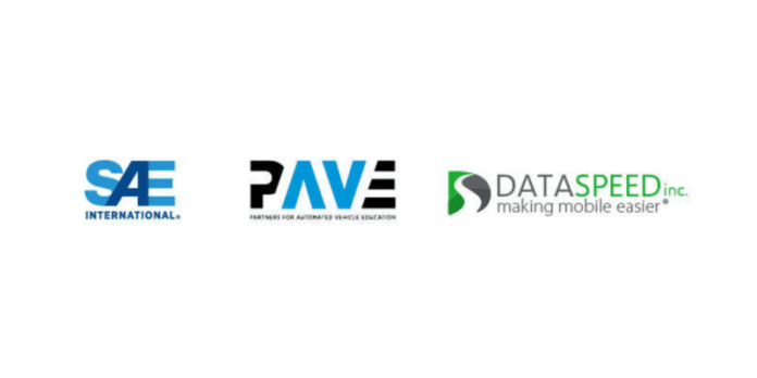 This image shows the logos of SAE, PAVE, and Dataspeed.
