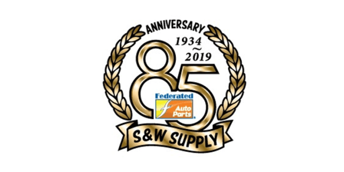 This image shows the logo for the 85th anniversary of S&W Supply. There is an 85 in the middle, with the Federated Auto Parts logo inside of the 85. It says,
