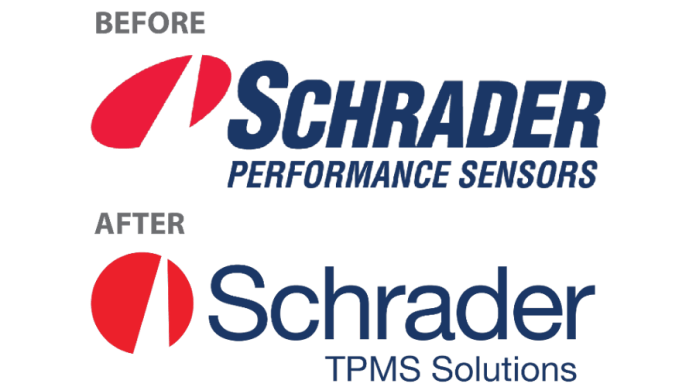 A new at the old and new Schrader logo.