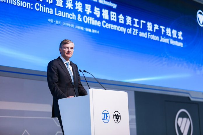 Wolf-Henning Scheider, CEO of ZF Friedrichshafen AG, speaks at the grand opening of the joint venture production plant of ZF and Foton in Jiaxing, south of Shanghai.