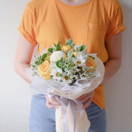 Yellow series classy mix fresh flower bouquet by AfterRainFlorist