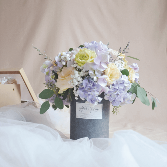 Fresh Flowers on a Tall Box by AFTERRAINFLORIST
