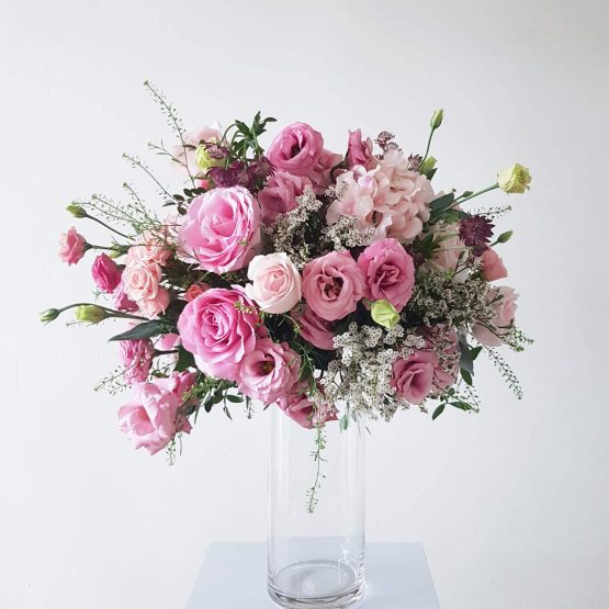 Large Round Fresh & Artificial Flower Arrangement by AFTERRAINFLORIST