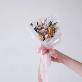 Preserved Pink Rose, Dried Purple Caspia, Dried Pavifloral & Dried White Caspia with Pink Bunny Tail by AFTERRAINFLORIST