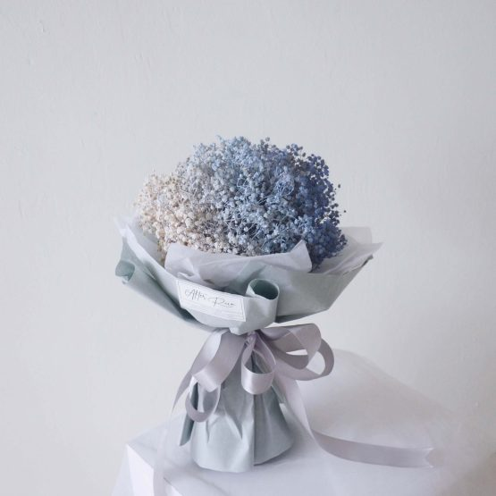 Dried Baby Breath Bouquet Sprayed in Shades of Blue by AFTERRAINFLORIST