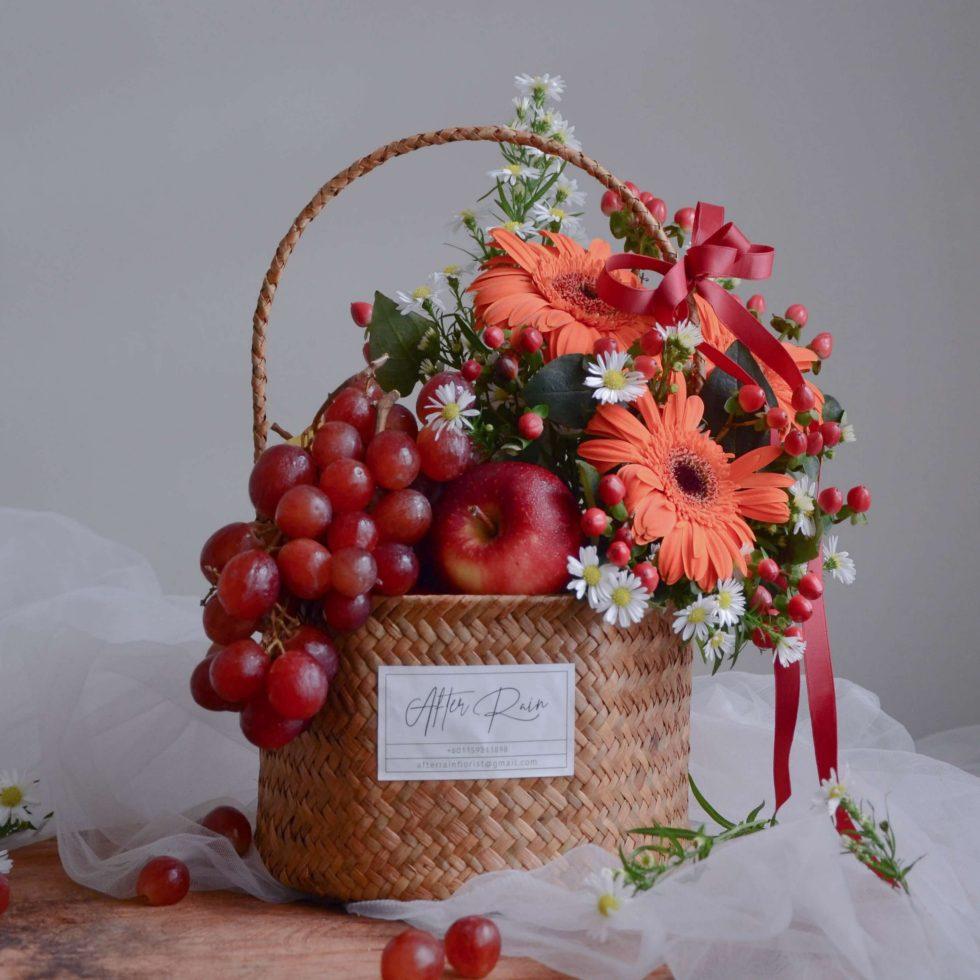 Sunset Orange color Fresh Flower & Fruit Basket
