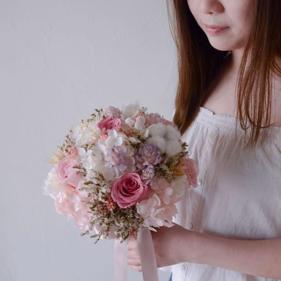 Pink Preserved & Dried Flower Bridal Bouquet by AfterRainFlorist, PJ Florist, KL & Selangor Flower Delivery Service