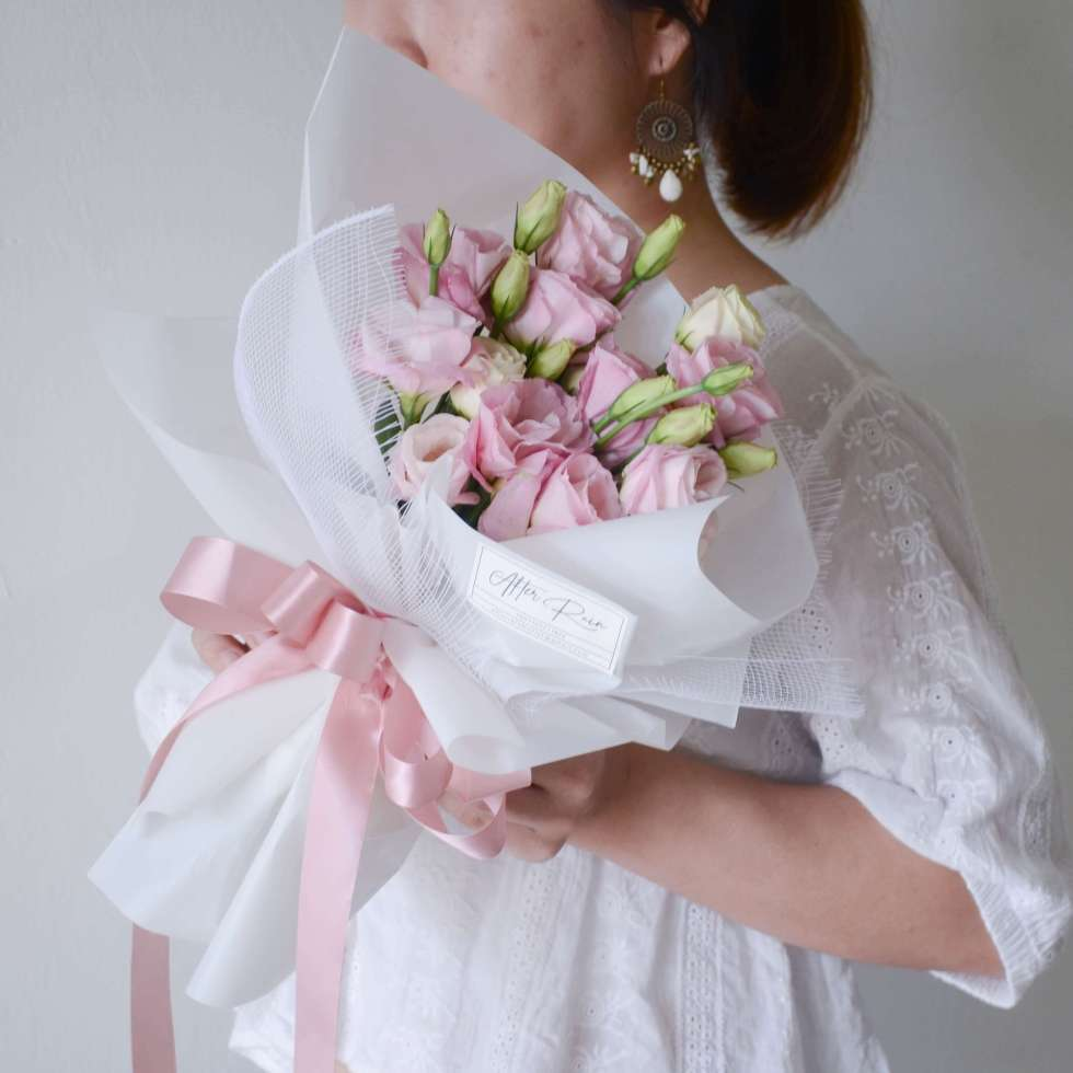Blushing Pink Eustoma (Lisianthus) Fresh Flower Wrapping Bouquet by AfterRainFlorist, PJ Florist, KL & Selangor Flower Delivery Service