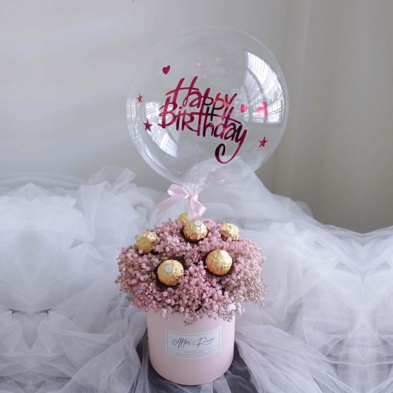 Pink Baby Breath & Ferrero Rocher Dried Flower Gift Box with Balloon by AfterRainFLorist, Pj(Malaysia) Florist,KL & Selangor Flower Delivery Service