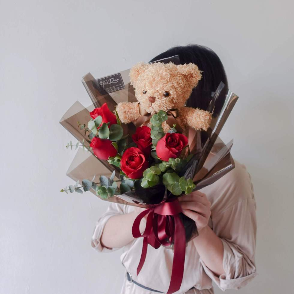 Valentine's Day 2022 Red Rose with Bear Bouquet by AfterRainFLorist, PJ (Malaysia) online Florist,KL & Selangor / Klang Valley Flower Delivery Service