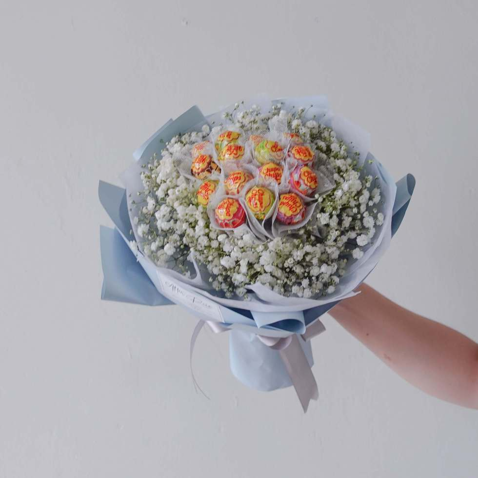 Valentine's Day VDAY 2022 Edible sweet Baby Breath with Lollipop Bouquet by AfterRainFLorist, PJ (Malaysia) online Florist,KL & Selangor / Klang Valley Flower Delivery Service