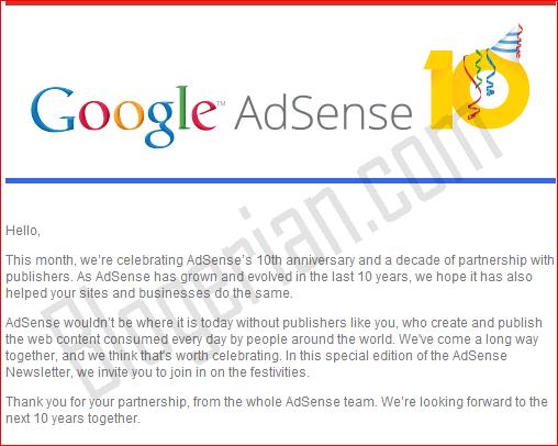 Google Adsense 10 year Anniversary