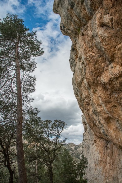 You can just about see the unknown climber at the top of the 7b to 8b link up.