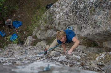 Tom climbing on Rich's newly bolted 7a at Musina.
