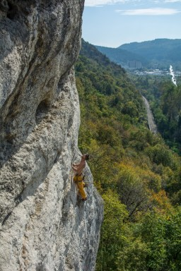 Pymn eyeing up the last moves on an extremely hard to read 7a at Veliko Tarnovo.