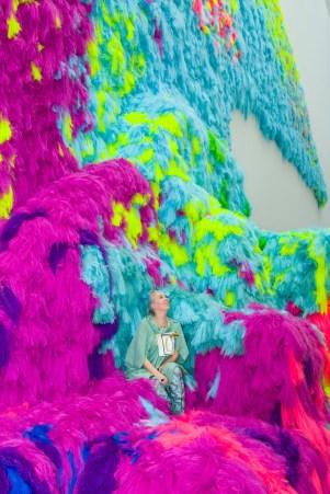 Hrafnhildur Arnardóttir (aka Shoplifter) sits among her installation Nervescape V 2016 at GOMA. Photograph: Natasha Harth, QAGOMA.