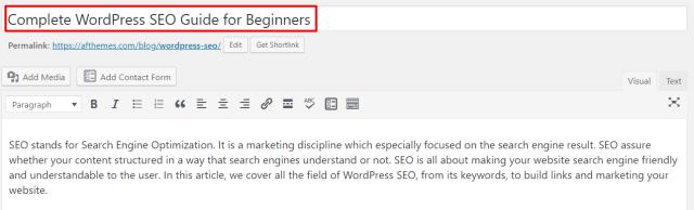 WordPress SEO page title
