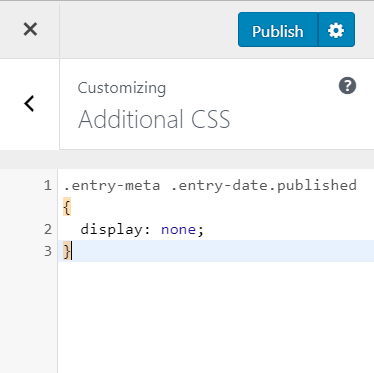remove post date from WordPress using additional css