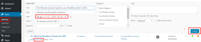 post published date WordPress