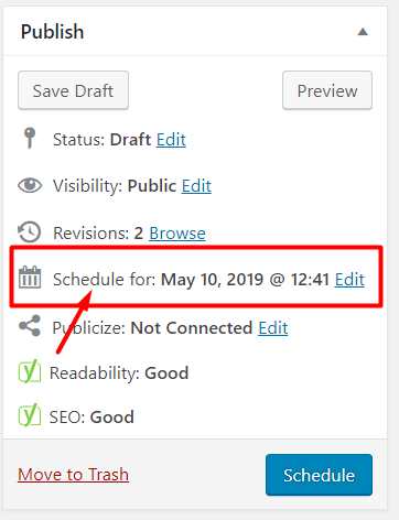 Schedule the post in WordPress