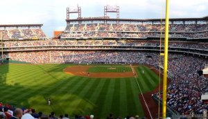 Picture of a baseball stadium, filled with fans and a game in progress