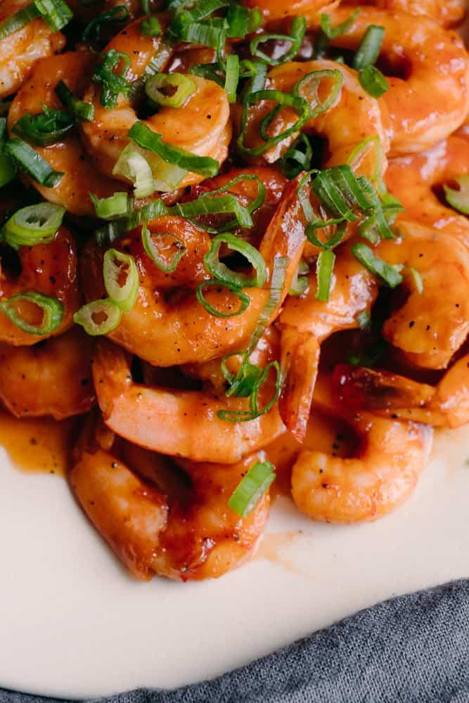 bbq glazed shrimp with green onions