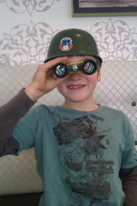 """Just after a browse through Toy World where we chose this get-up to accompany the """"Army"""" birthday theme that Kaleb chose."""