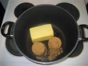 2 c. Butter and 2 c. Brown Sugar into a pot over medium-high heat.