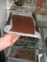 Move toffee to fridge to cool and harden.
