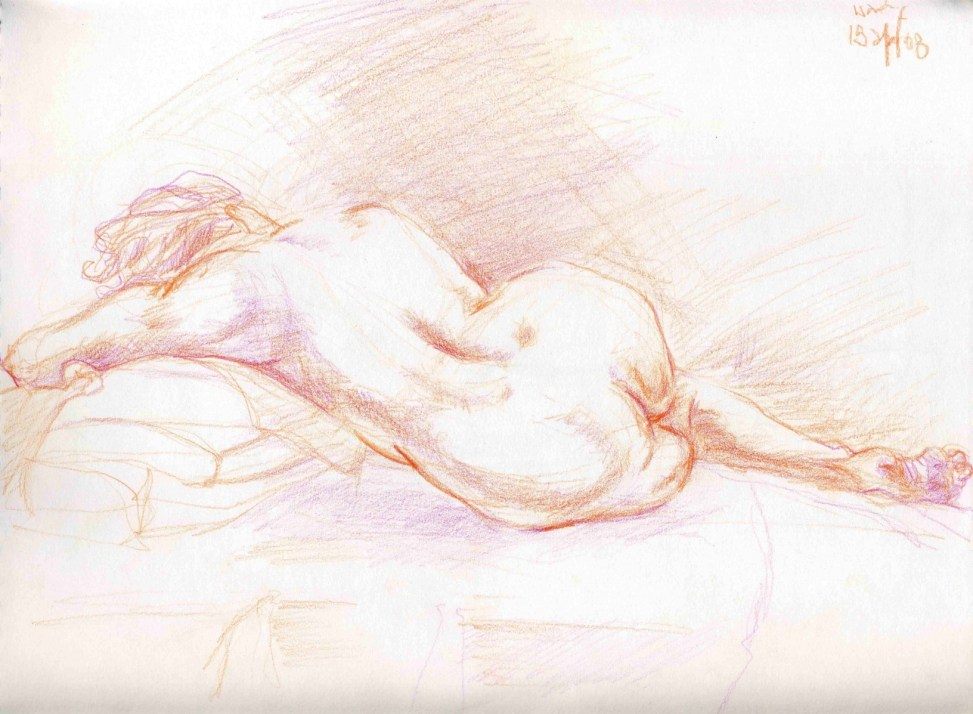 Red Pencil Reclining Nude