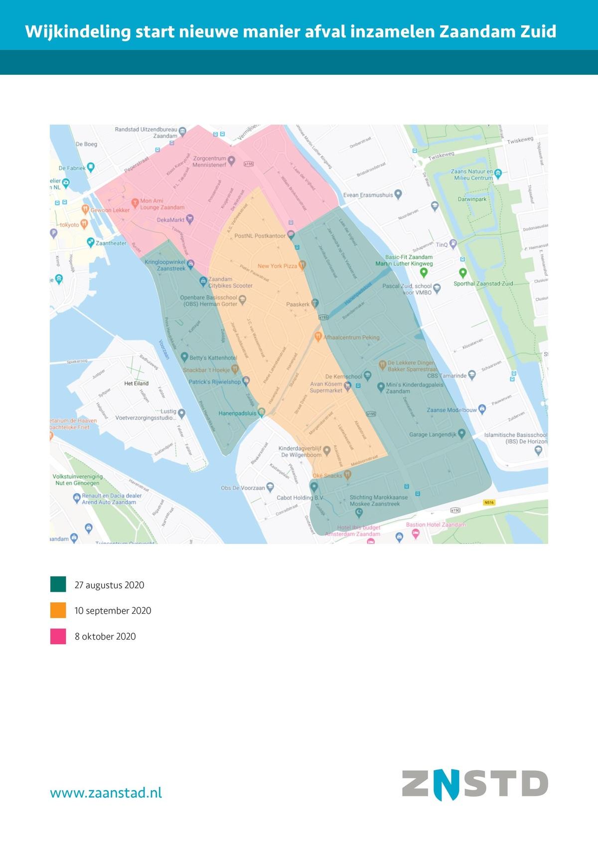 kaart wijkindeling Zaandam Zuid