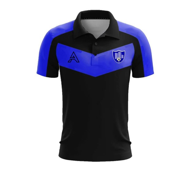Custom Black and Blue with Paneling Polo Shirt AFYM-4006