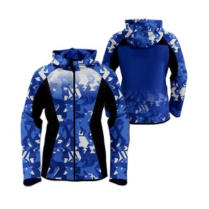 White with Blue Stone Shaded Sublimation Hoodie AFYM-5009