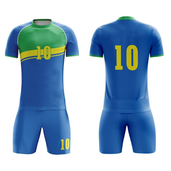 Blue Sublimation Soccer Kits with Two Colors Trimming AFYM:2025