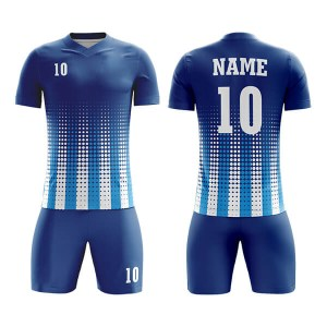 Blue with Multi Dot Panels Sublimation Soccer Kits AFYM:2045